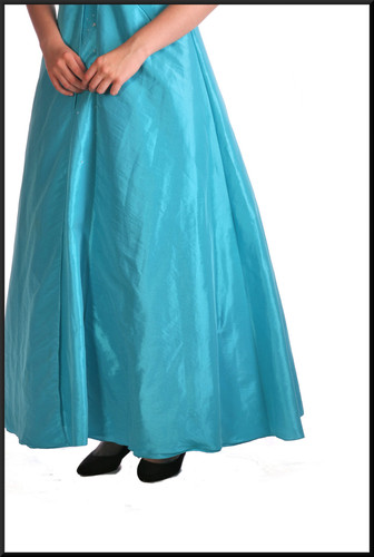 Ankle length full skirt evening dress with stiffener under skirt and front leaf panels & short corset tie