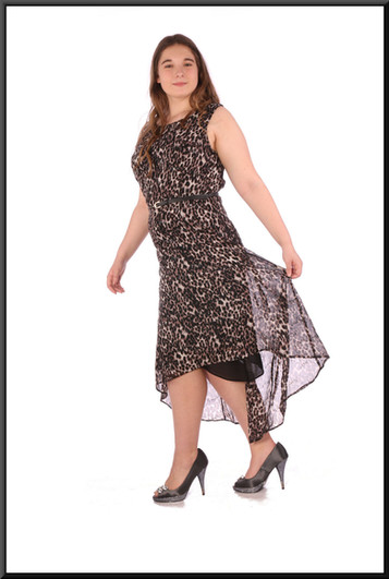 """Summer satinette mini dress with variable length chiffon over-skirt and belt - leopard print, size 16; model height 5'7"""""""
