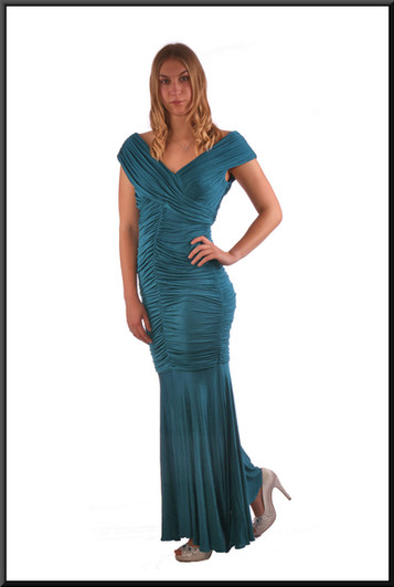 """Ankle length ruched body with chiffon skirt evening dress - teal, size 10; model height 5'9"""""""