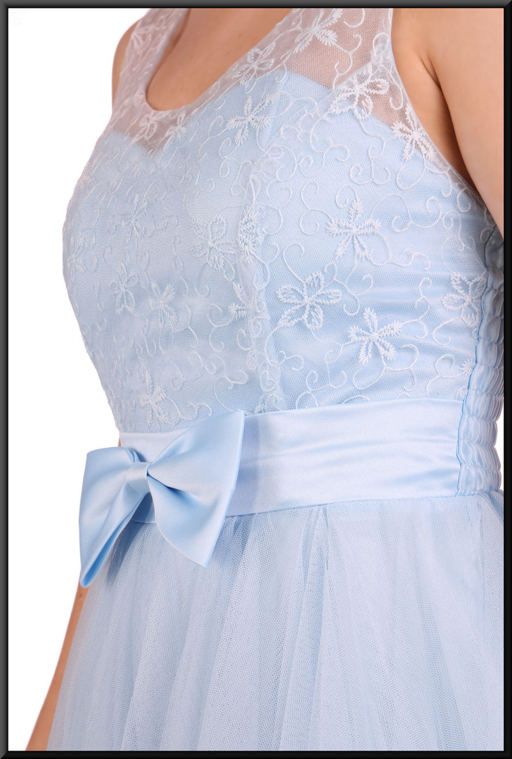 Baby doll net over satinette mini dress and embellished bodice, size 4 / 6 in pale blue  Model height 5'2""