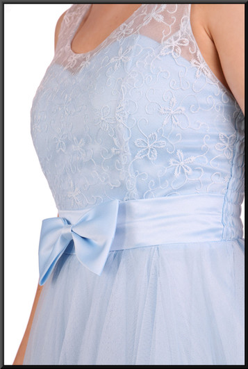 """Baby doll net over satinette mini dress and embellished bodice, size 4 / 6 in pale blue Model height 5'2"""""""