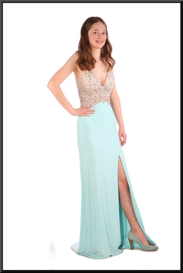 """Full length backless evening dress (US 2) with train with embellished bodice & split skirt, mint blue & ivory, size 6. Model height 5'6"""""""