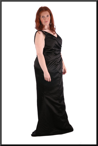Thirties style satin full length black evening dress with slightly flared skirt with corset tie - size 20