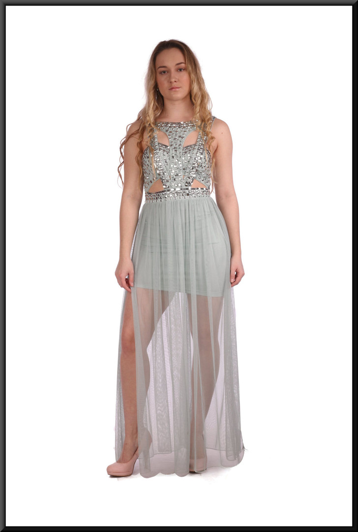 """Satinette mini skirt with sequinned bodice and full length chiffon panels in pale blue.  Size 6.  Model height 5'3"""""""