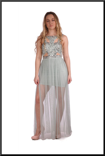 """Satinette mini skirt with sequinned bodice and full length chiffon panels - light blue, size 6. Model height 5'3"""""""