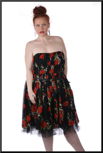 """Knee-length strapless dress, belt, multi-layer under-skirt in net, size 16 / 18 in black with a red poppies pattern. Model height 5'7"""""""