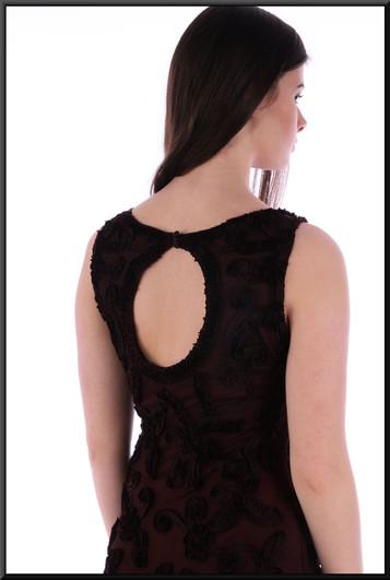 "Full-length classic viscose evening dress with crochet-effect mesh over-dress - dark burgundy / maroon, size 10. Model height 5'10"""