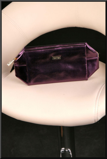 Purple satinette clutch bag with gold coloured shiny fabric lining (Brand new on receipt)