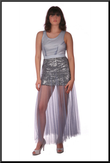 """Sequinned mini skirt with flowing chiffon over-skirt and panelled bodice - pale blue over silver. Size 10. Model height 5'10"""""""