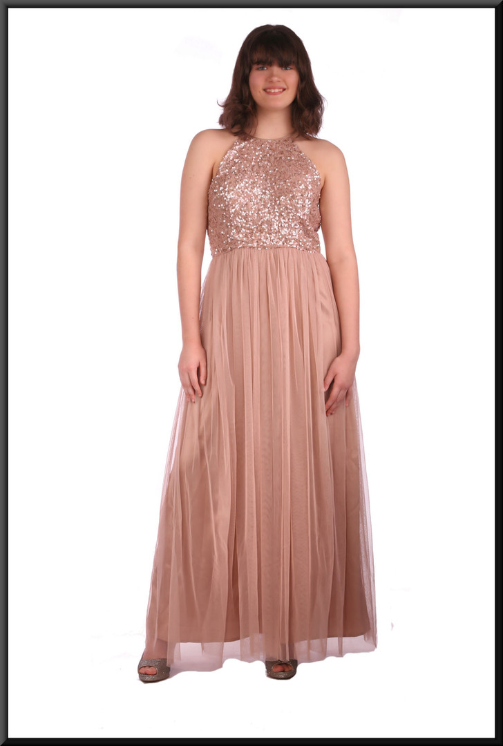 Classic evening dress with sequinned bodice with multi-layered net skirt over satin in pink