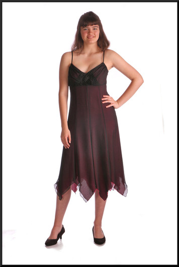 """Just below the knee party / cocktail  dress in light chiffon over satinette, charcoal over pink, size 12, model height 5'10"""""""