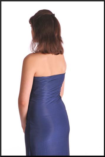"Full length strapless evening dress with frontal split, mini under-skirt / diamanté decor, navy blue, size 10 / 12, model height 5'10"""