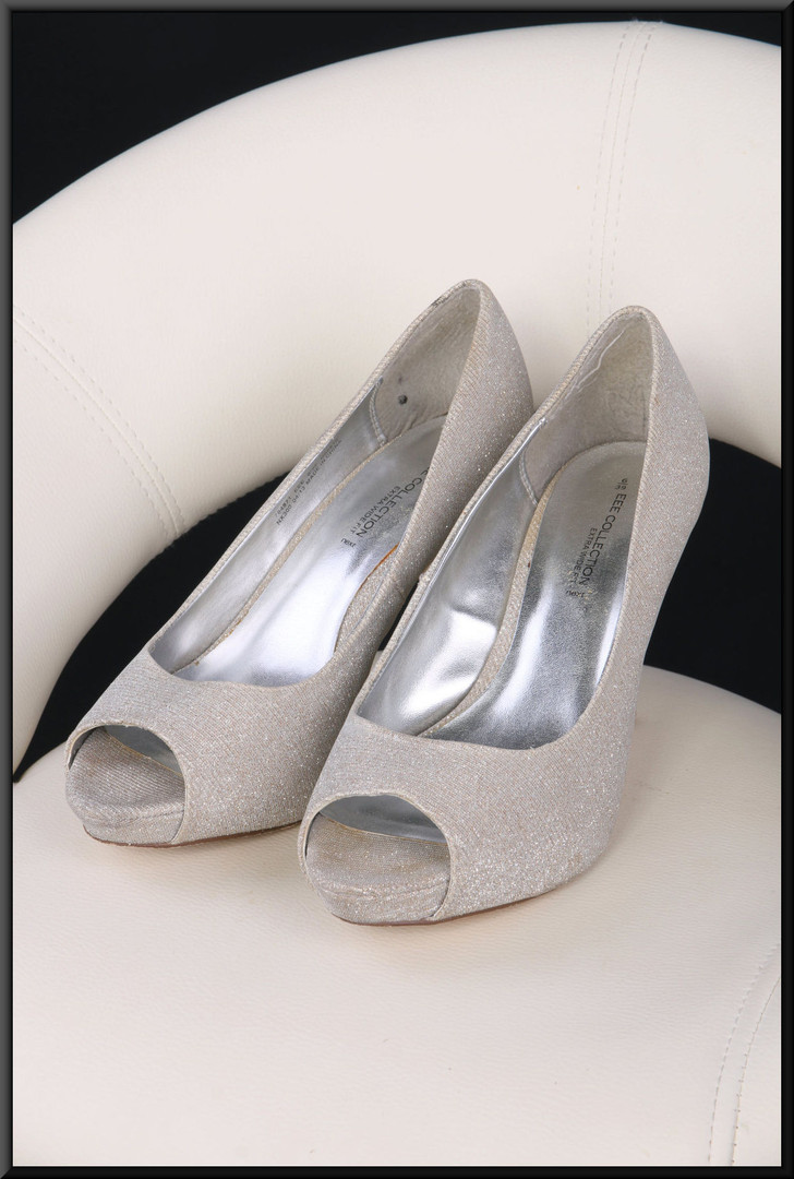 Ladies' silver glitter effect toe-less evening shoes in extra wide fit size 6 by Next EEE Collection