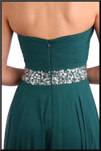 "Size 6 / 8 full-length strapless evening dress and chiffon over-skirt - bottle green, size 6 / 8.  Model heights blonde 5'3"" and brunette 5'7"""