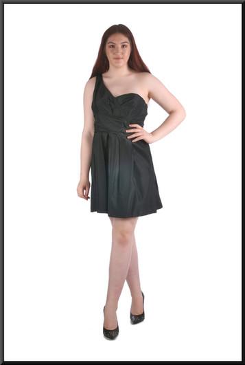 """Single shoulder strap cocktail dress, black, size 16, model height 5'7"""""""