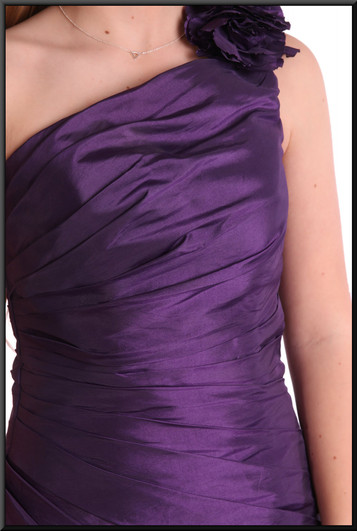 """Satin polyester dress with pleated sides and ruched bodice one shoulder strap, size 8 in plum. Model height 5'5"""""""