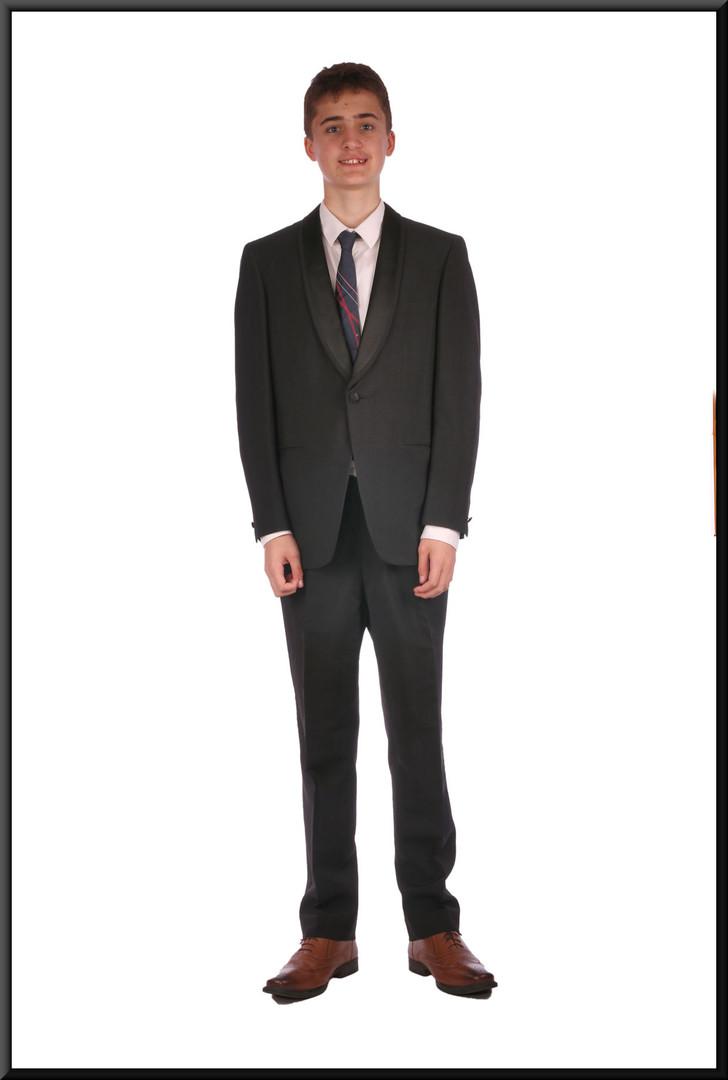 "Black evening suit chest 38 waist 30 inside leg 31 (?). Model height 6'0"""
