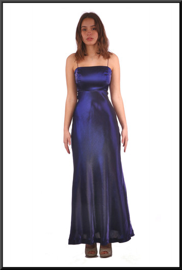 Slimline shiny felt effect evening dress - navy blue, size 8.  Model height 5'7""