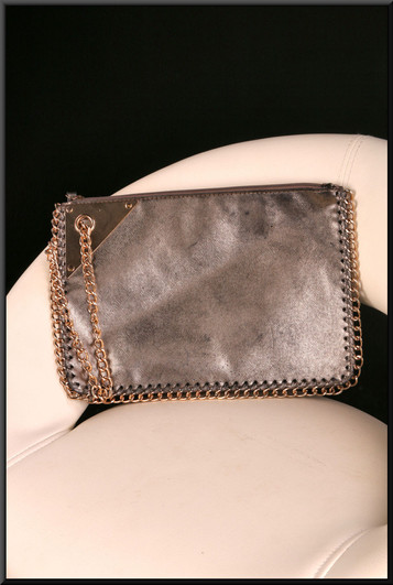 Supple gold glitter effect clasp bag with gold coloured wrist chain