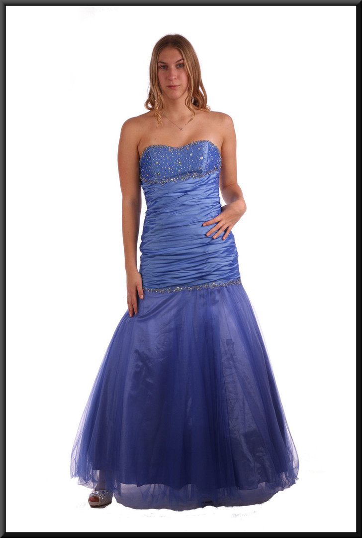 Strapless full length evening dress, ruched bodice, net over satin skirt - blue, size 8 / 10; model height 5'9""