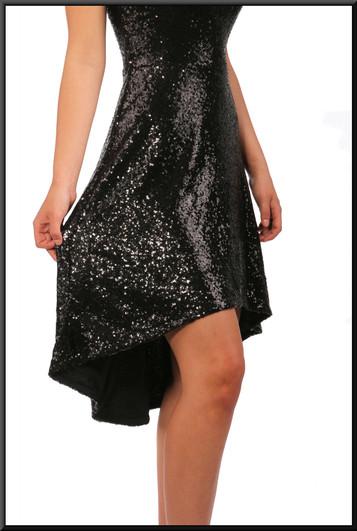 """Variable length cocktail dress black with sequins, black, size 10, model heights - blonde 5'5"""", brunette 5'7""""."""