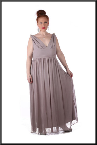 """Size 18/20 """"Aphrodite"""" voile over satin full length rear zip v-neckline, brooches - grey with a hint of lilac"""