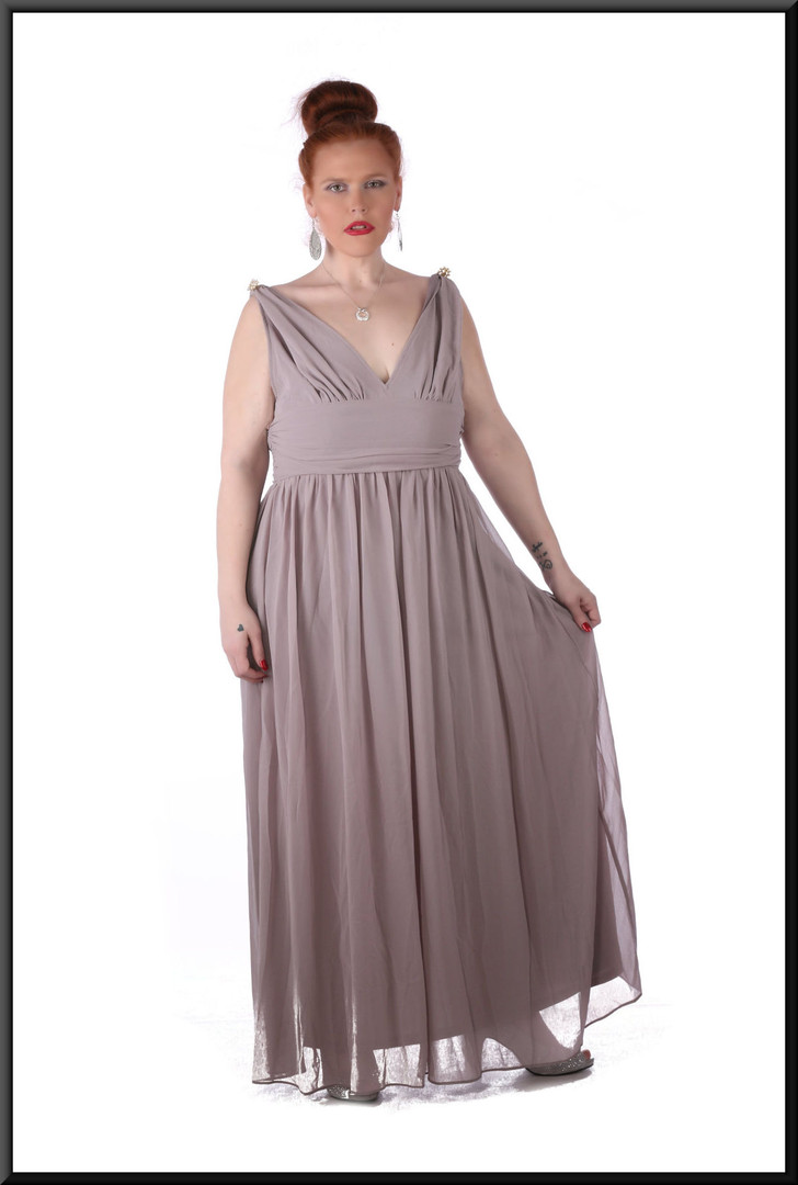 "Size 18/20 ""Aphrodite"" voile over satin full length rear zip v-neckline, brooches - grey with a hint of lilac"