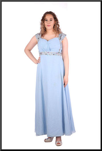 Silk-effect full-length dress with ruched bodice and diamanté detail size 12 / 14 - light blue