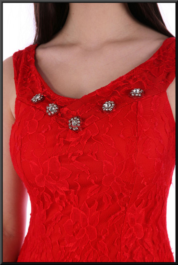 """Slim cut ankle length evening dress satinette with 1920s style net over-skirt in red. Size 8 / 10. Model height 5'10"""""""