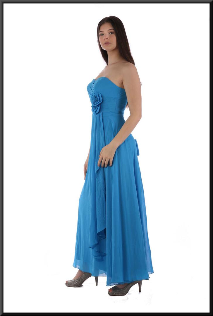 "Ankle length strapless dress with full split skirt and rose bodice embellishment, size 8 in dark turquoise Model height 5'10"""