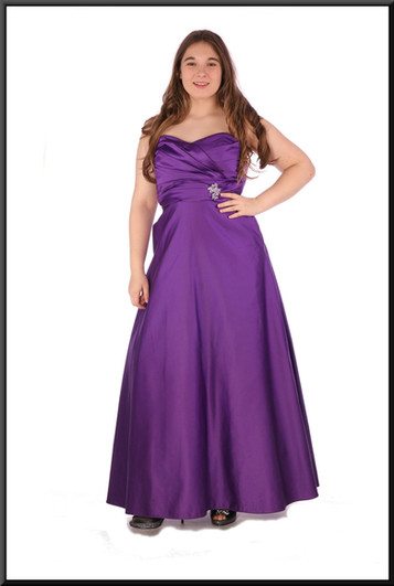 Strapless satin effect evening dress with ruched bodice - plum, size 14; model height 5'7""