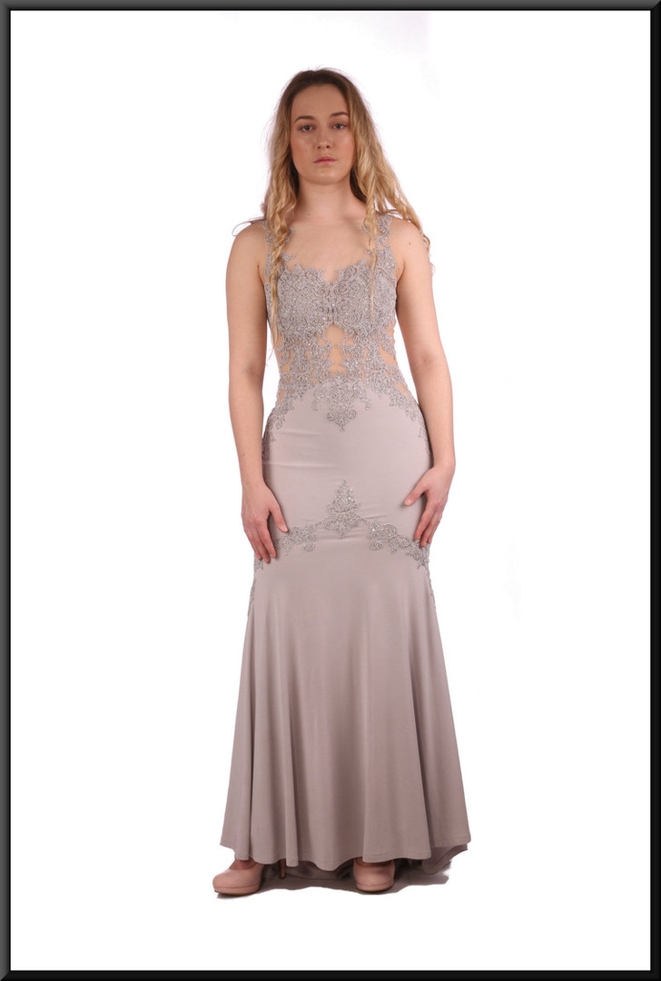 """Full length evening dress in lightweight felt-effect polyester with train and nude panels- dove grey, size 6 / US 2. Model height 5'3"""""""