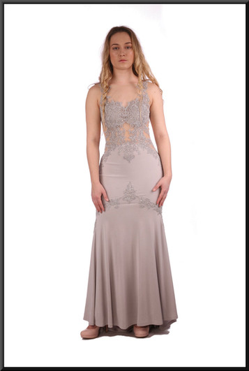 """Full length evening dress in lightweight felt-effect polyester with train and nude panels in dove grey.  Size 6 (marked US size 2).  Model height 5'3"""""""