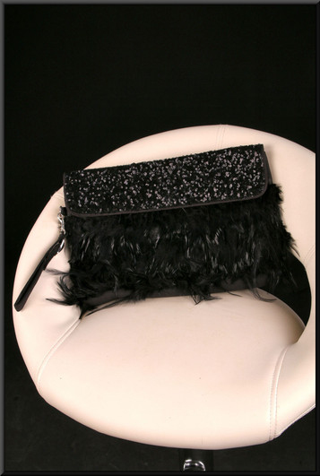 Black sequinned and feathered clasp bag with wrist strap