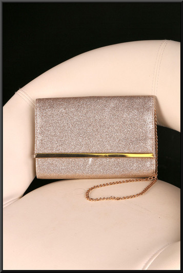 Small gold glitter effect clasp / shoulder bag with gold coloured shoulder chain