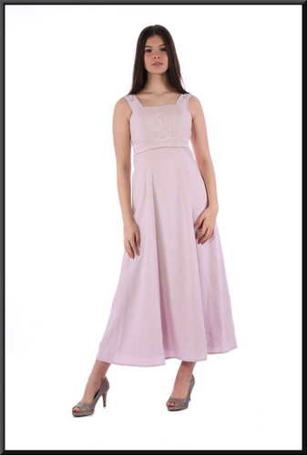 Ankle length 100% polyester dress - pale pink, size 8.  Model height 5'10""