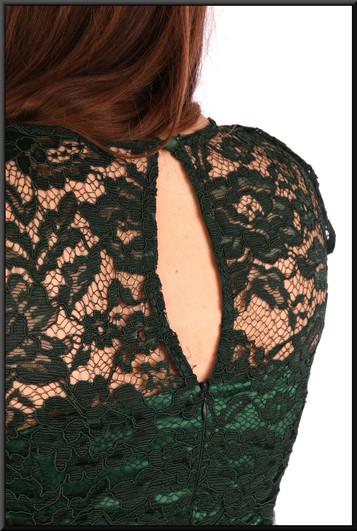 """Sequinned calf length cocktail dress net over satin - bottle green, size 14. Model height 5'4"""""""