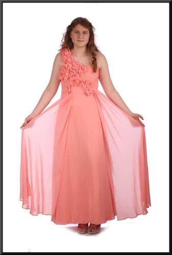 Size 10 / 12 ankle length chiffon evening / bridesmaid dress with bejewelled strap, pink.