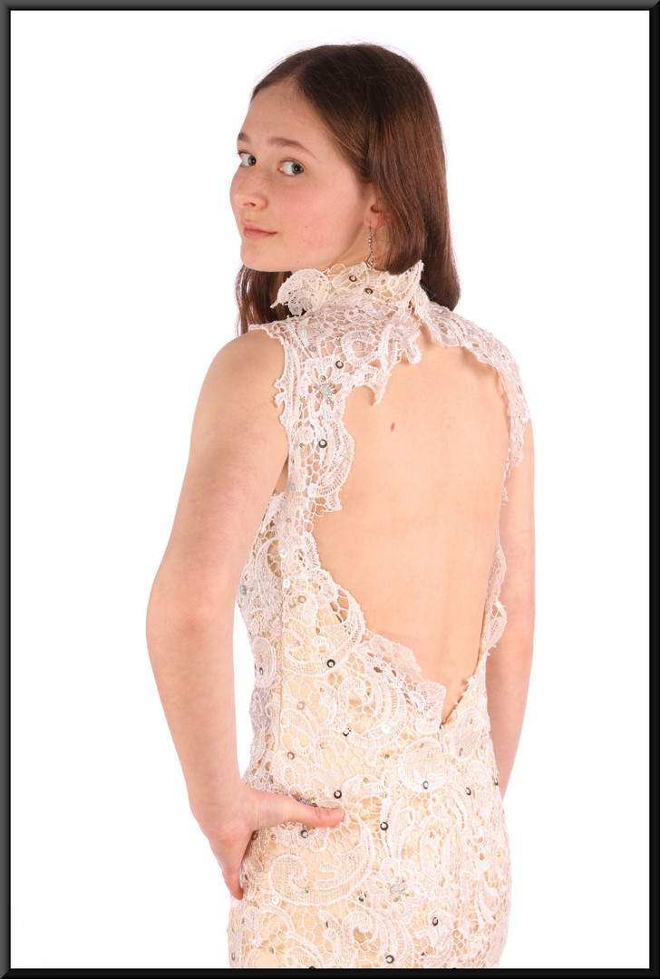Full length slimline almost backless evening dress with translucent under-bust panel - ivory, size 6 / 8.  Model height 5'6""