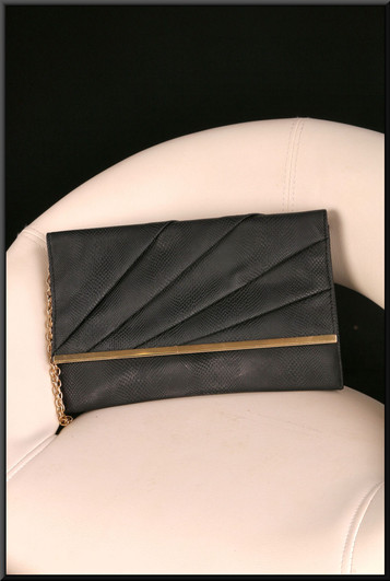 Black snakeskin effect clasp / shoulder bag with gold coloured link chain