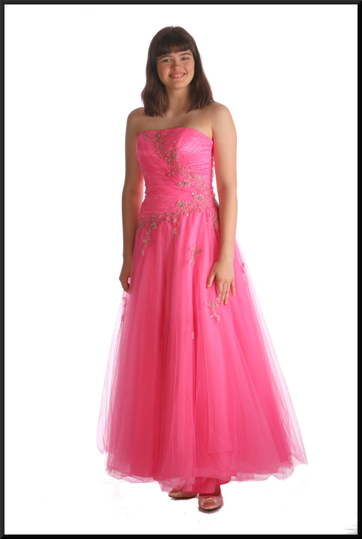 Strapless Cinderella ball gown ankle length with diamanté and sequin emblazoned bodice / waistline, pink, size 8 / 10, model height 5'10""