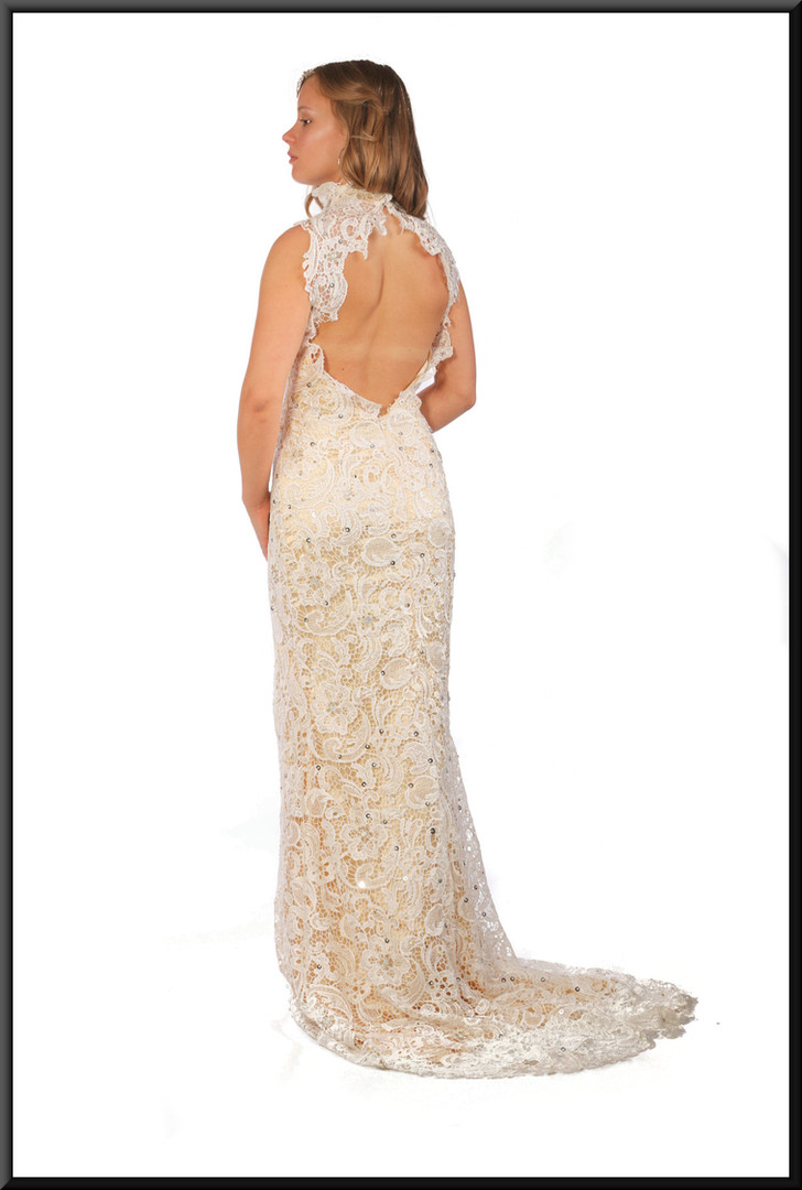 """Full length with train bridal dress with complex floral decoration in ivory, size 10 (US 6), model height 5'5"""""""