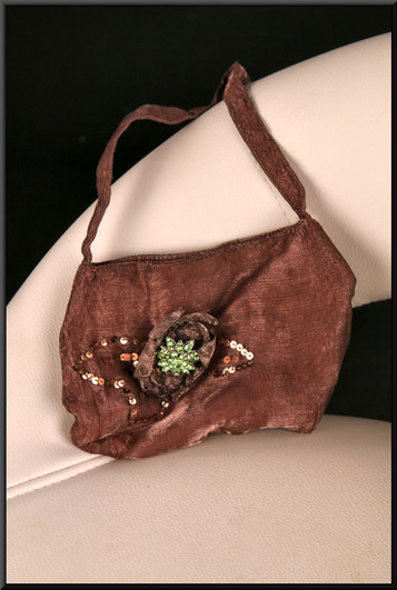 Delicate bronze sparkle effect hand pouch bag with green diamanté rose embellishment and sequins