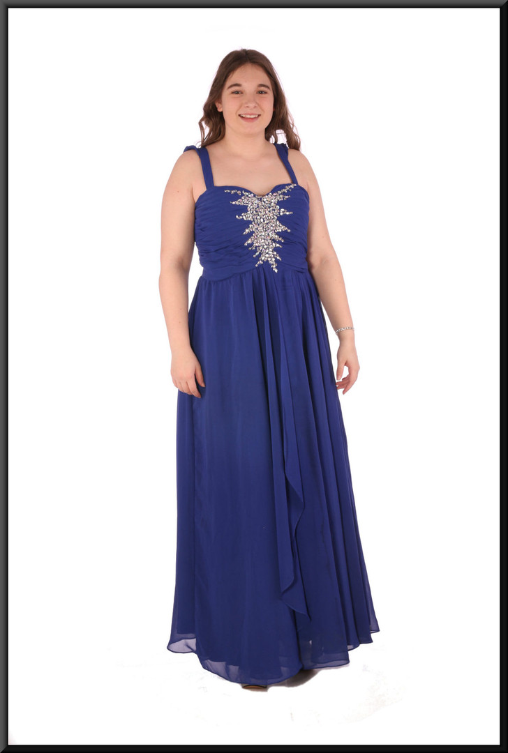 Chiffon over skirt over satinette skirt with diamanté embellished ruched bodice - royal blue, size 14.  Model height 5'7""