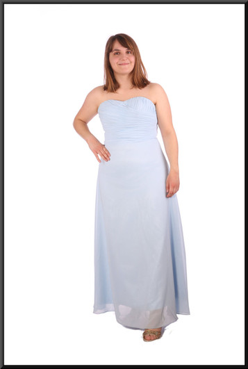 """Full skirt long chiffon over satinette strapless bridesmaid dress with corset tie, size unmarked - pale blue, size 14; model height 5'4"""""""