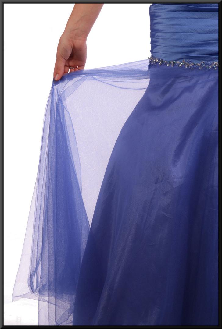 """Strapless full length evening dress, ruched bodice, net over satin skirt - blue, size 8 / 10. Model height 5'9"""""""