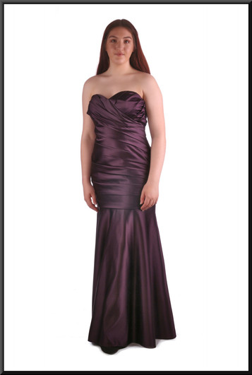 """Full length strapless evening dress with diagonally ruched bodice and under-bust, plum, size 14, model height 5'7"""""""