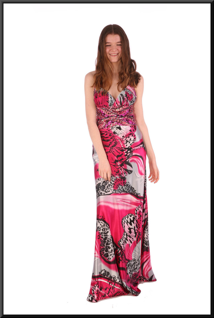 Party dress full length with cross straps rear & sequinned / embellished bodice - black, white & fuchsia, size 10.  Model height 5'7""