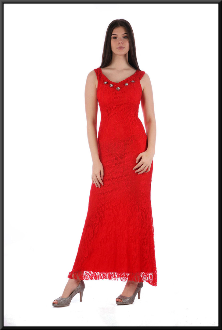 Slim cut ankle length evening dress satinette with 1920s style net over-skirt in red.  Size 8 / 10.  Model height 5'10""