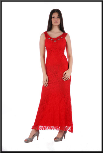 Size 8/10 slim cut ankle length evening dress satinette with 1920s style net over-skirt, red
